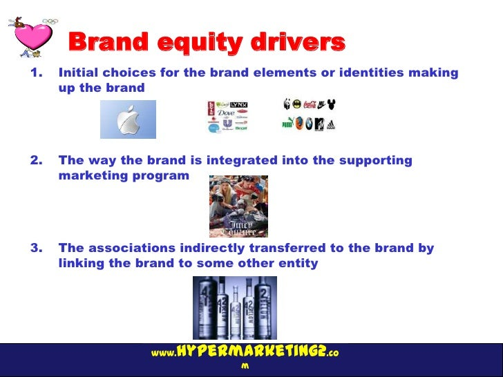 Brand equity drivers1.   Initial choices for the brand elements or identities making     up the brand2.   The way the bran...