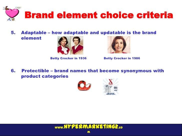Brand element choice criteria5.   Adaptable – how adaptable and updatable is the brand     element                Betty Cr...