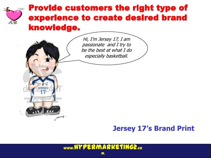 Provide customers the right type ofexperience to create desired brandknowledge.               Hi, I'm Jersey 17, I am     ...