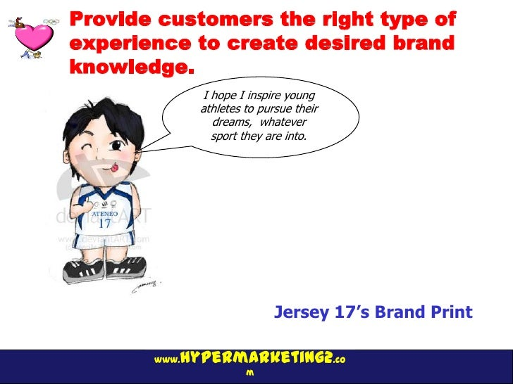Provide customers the right type ofexperience to create desired brandknowledge.              I hope I inspire young       ...