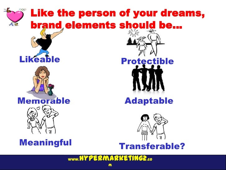 Like the person of your dreams,  brand elements should be…Likeable                 ProtectibleMemorable                 Ad...
