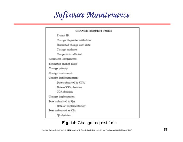 Charming Software Maintenance Fig. 14: Change Request Form ...