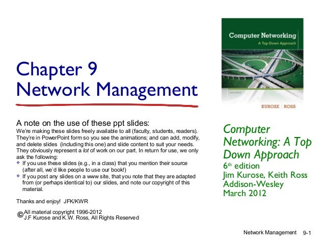 Chapter 9 Network Management A note on the use of these ppt slides: We're making these slides freely available to all (fac...