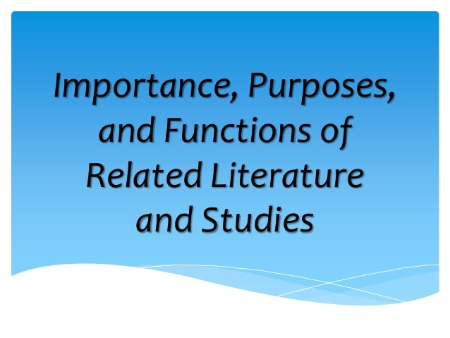 purpose and function of literature review