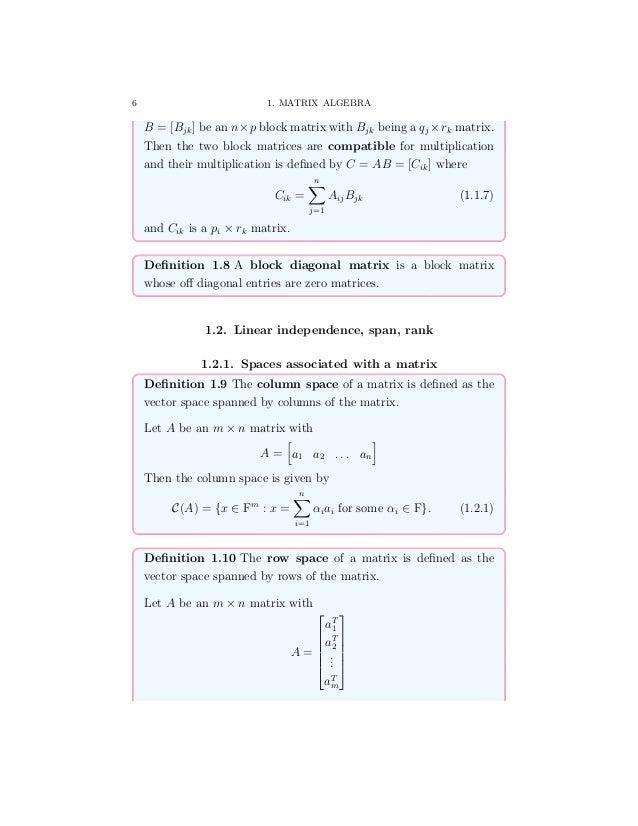 Some notes on Matrix Algebra