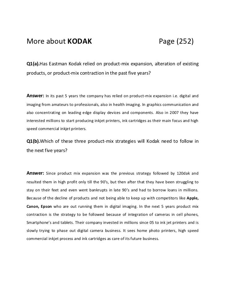 kodak major case essay Organisational agility: how businesses can survive and thrive in turbulent times is an economist intelligence the major fi ndings are as follows:.