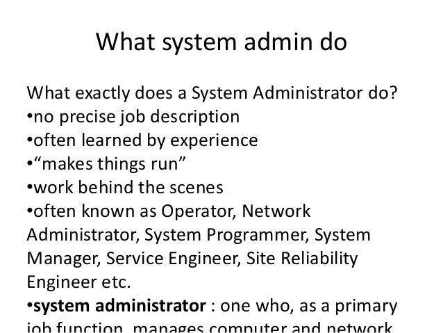 System Administration Basics; 2.