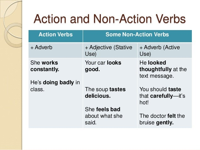 stative verb and action verb essay There are mainly two types of verbs: action verbs and state verbs action verbs  refer to an action examples are: write, work, break, kick, cook,.