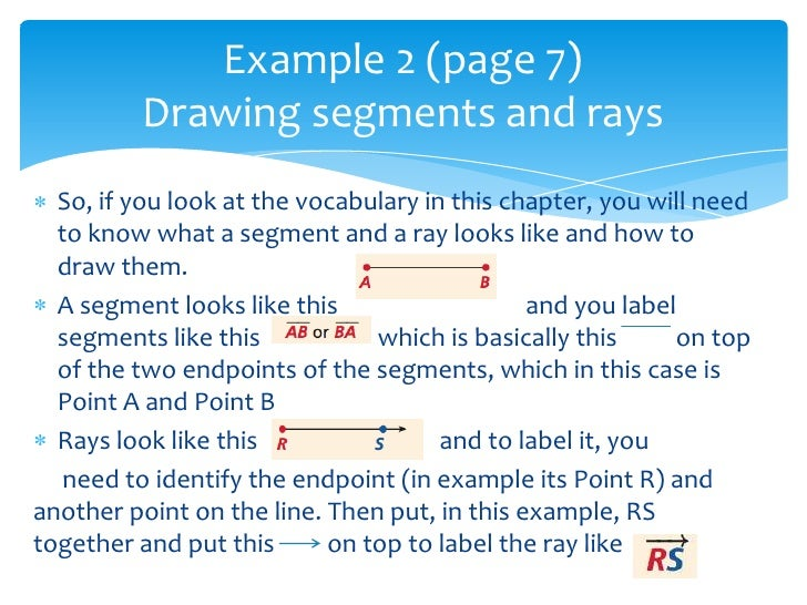 Drawing Lines Segments And Rays : Chapter review