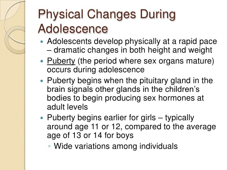 examples of physical development in adolescence