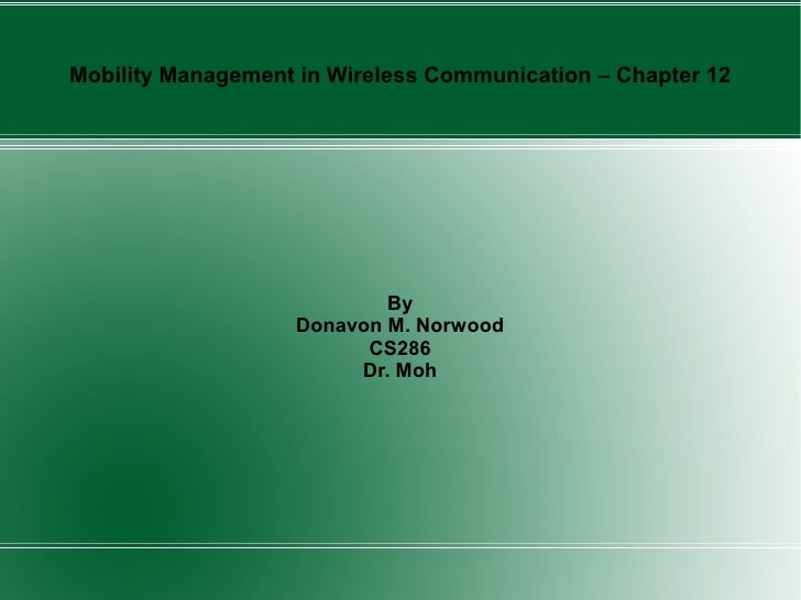 Mobility Management in Wireless Communication