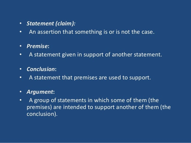 Premise Indicator Words: Chapters 1 And 2