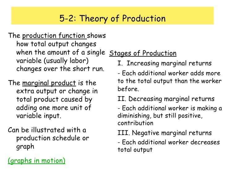 5-2: Theory of Production <ul><li>The  production function  shows how total output changes when the amount of a single var...