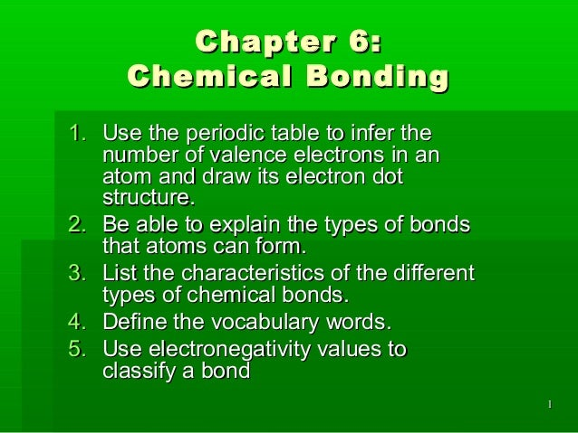 Chapter 6:      Chemical Bonding1. Use the periodic table to infer the   number of valence electrons in an   atom and draw...
