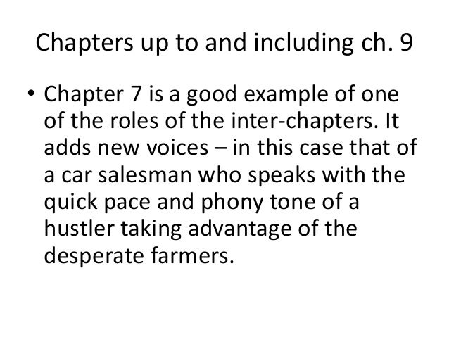 Chapters up to and including ch. 9  • Chapter 7 is a good example of one  of the roles of the inter-chapters. It  adds new...