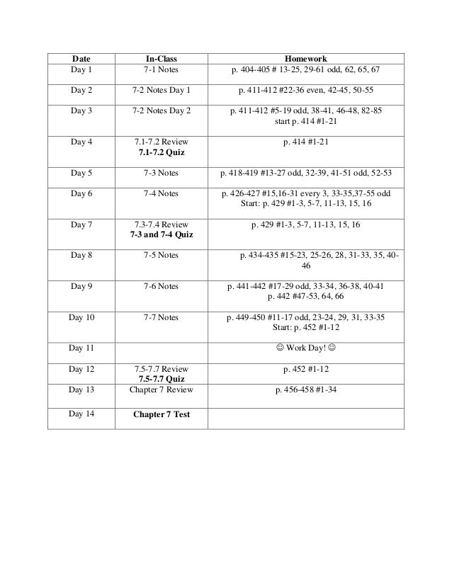 Date In-Class HomeworkDay 1 7-1 Notes p. 404-405 # 13-25, 29-61 odd, 62, 65, 67Day 2 7-2 Notes Day 1 p. 411-412 #22-36 eve...