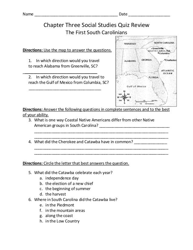 Chapter Three Social Studies Quiz Review
