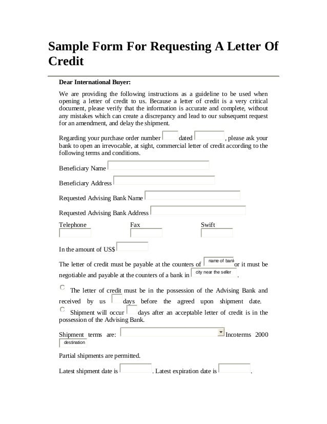 15 sample form for requesting a letter of credit