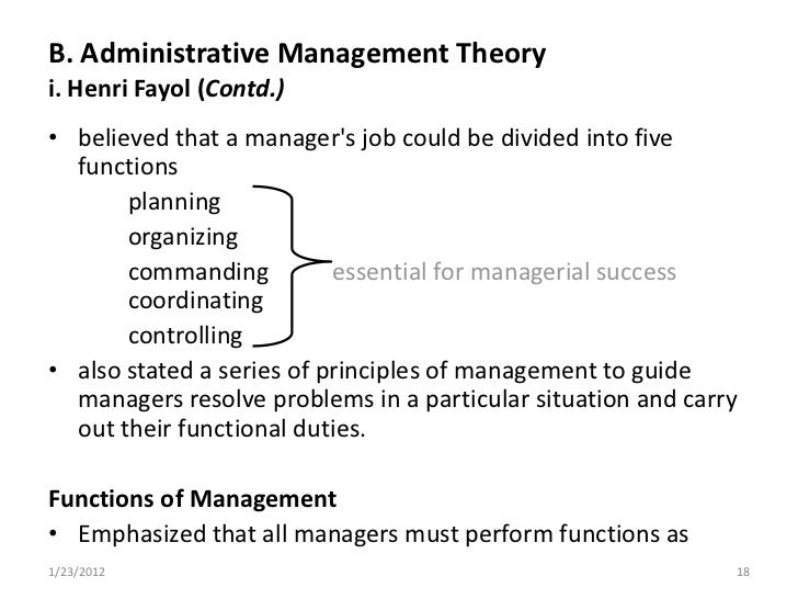 management theories of henri fayol Henri fayol's management theory essay concrete management plans so projects are completed on time and on budget many management theories.