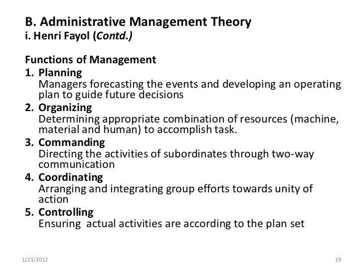 Administrative management theory essay