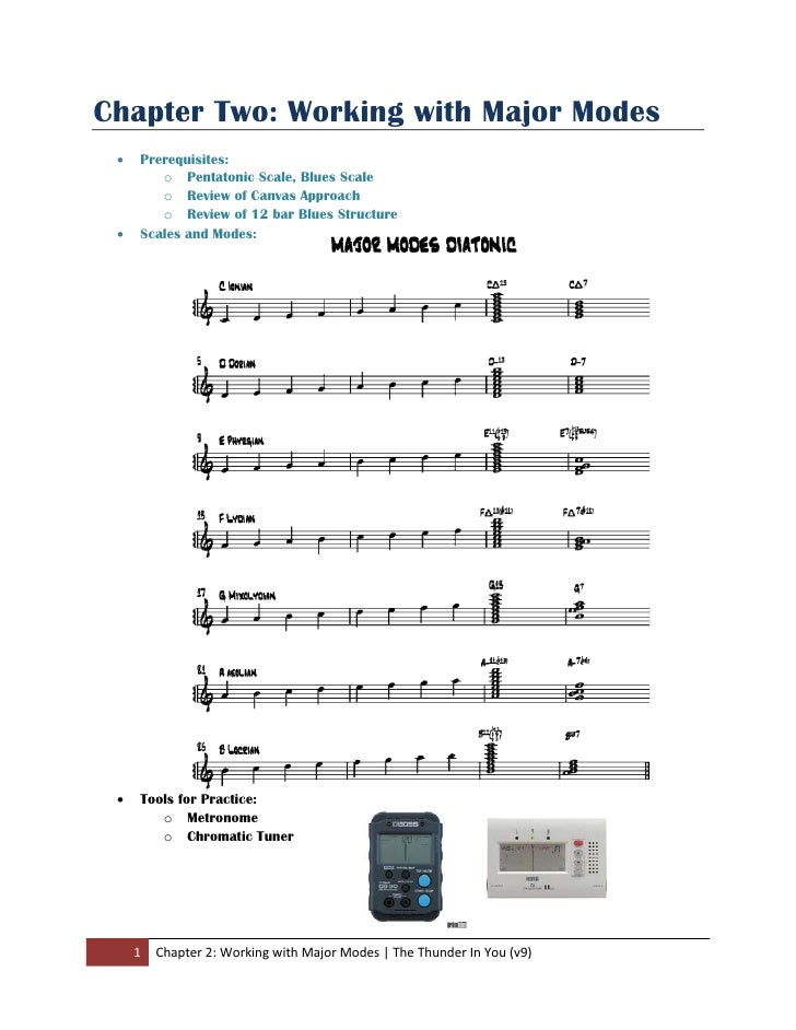 Chapter Two: Working with Major Modes     •    Prerequisites:             o Pentatonic Scale, Blues Scale             o Re...