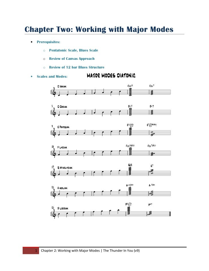 Chapter Two: Working with Major Modes  •   Prerequisites:            o   Pentatonic Scale, Blues Scale            o   Revi...