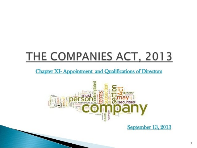 Chapter XI- Appointment and Qualifications of Directors 1 September 13, 2013