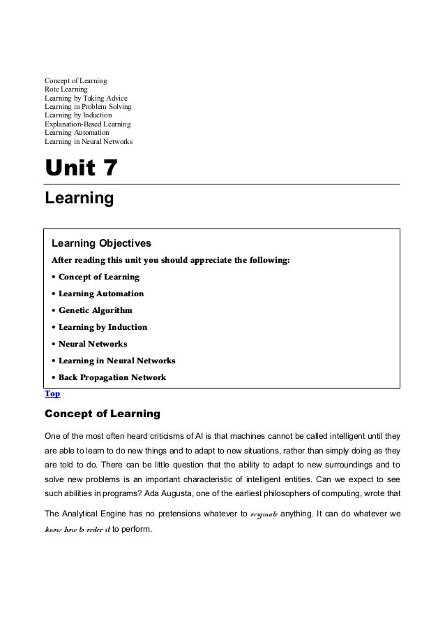 Concept of LearningRote LearningLearning by Taking AdviceLearning in Problem SolvingLearning by InductionExplanation-Based...