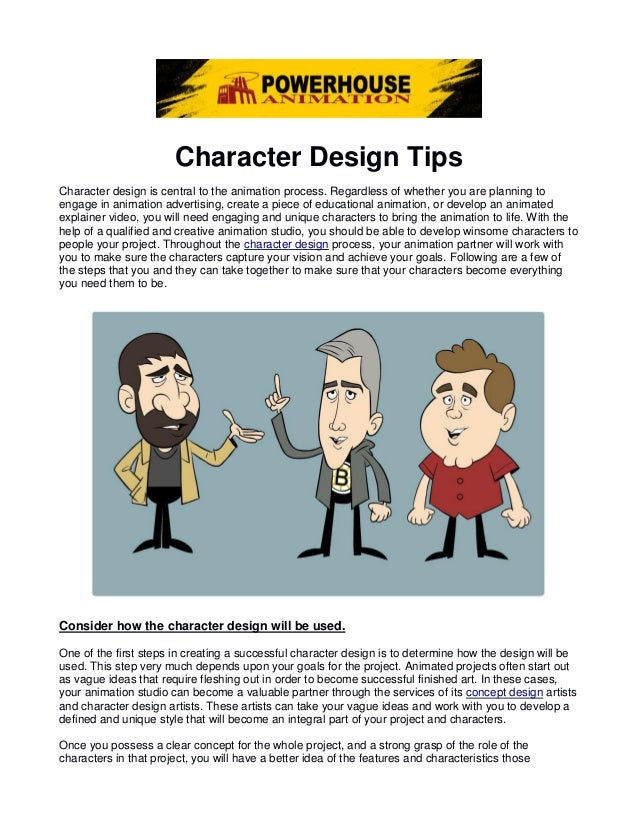Character Design Presentation : Character design tips