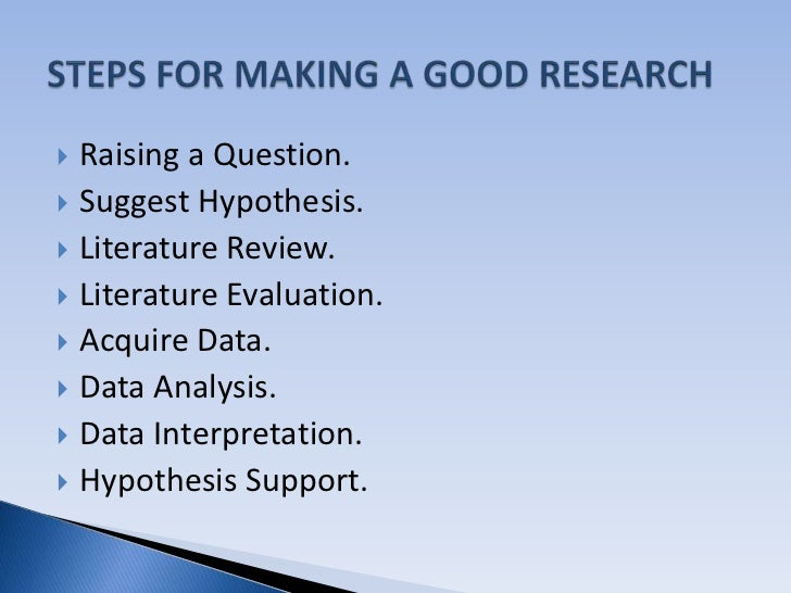 Characteristics and criteria of good research