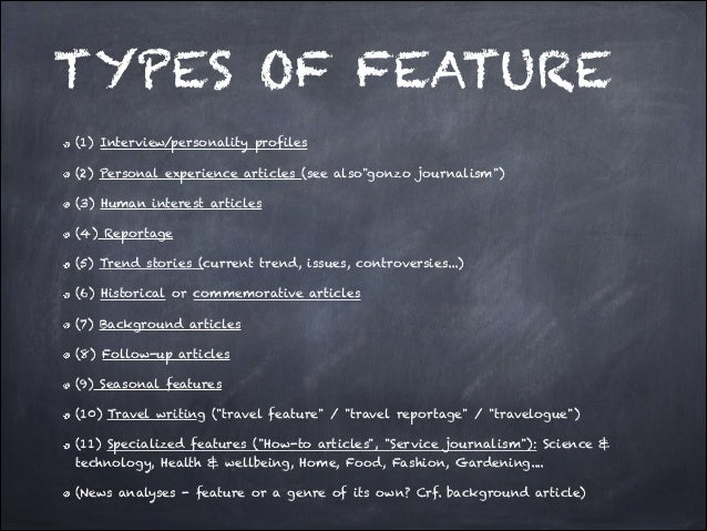 TYPES OF FEATURE WRITING PDF