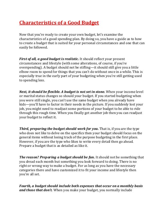 characteristics of a good budget