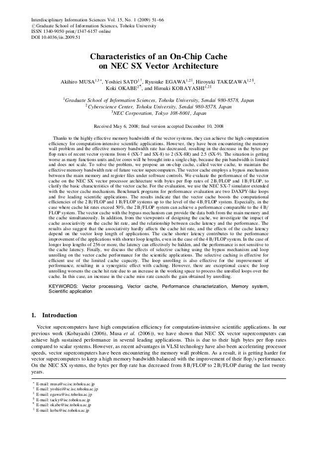 Characteristics of an On-Chip Cache on NEC SX Vector Architecture Akihiro MUSA1;3Ã , Yoshiei SATO1y , Ryusuke EGAWA1;2z , ...
