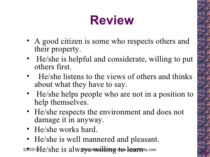 CHARACTERISTICS OF A GOOD CITIZEN