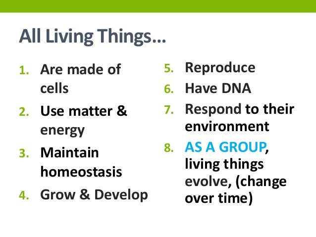 Characteristics of life for Advanced Biology