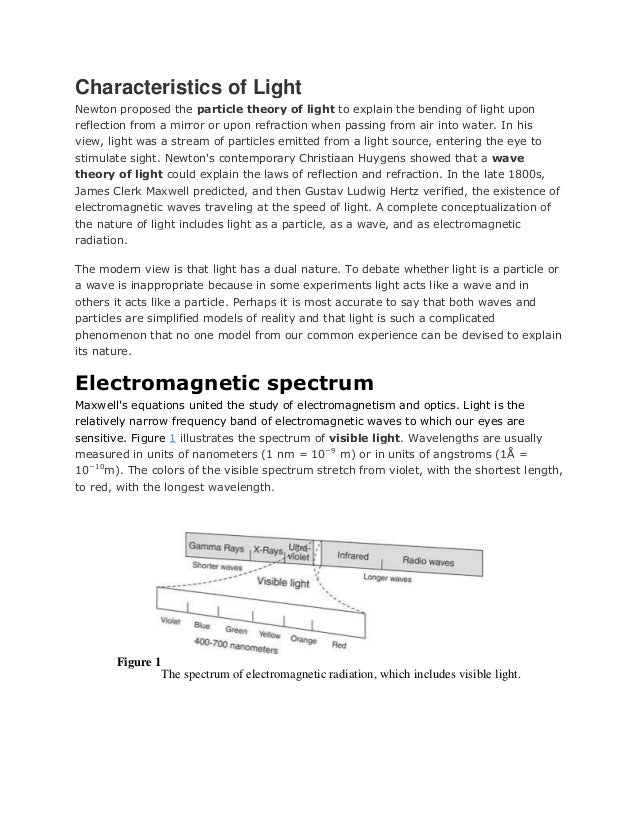 Characteristics of LightNewton proposed the particle theory of light to explain the bending of light uponreflection from a...