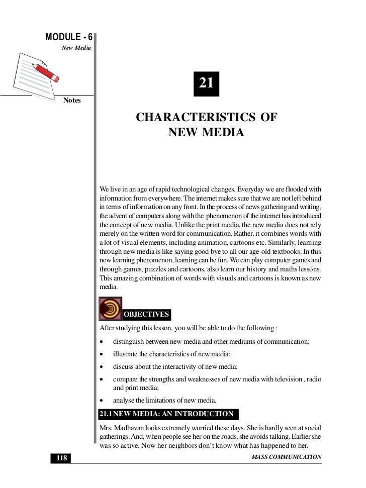 MODULE - 6                                                    Characteristics of New Media   New Media                    ...