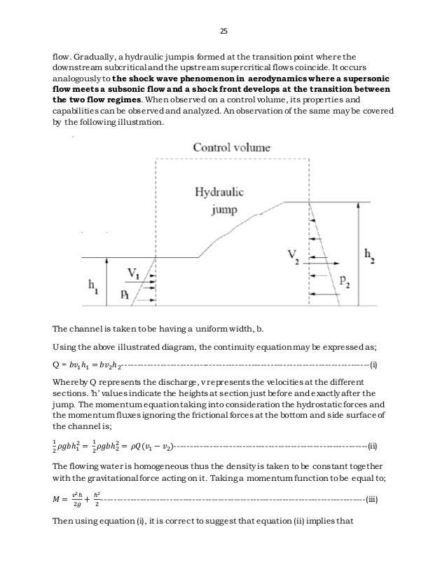 Control Volume Aerodynamic : Characteristics of sharp weirs and the hydraulic jump