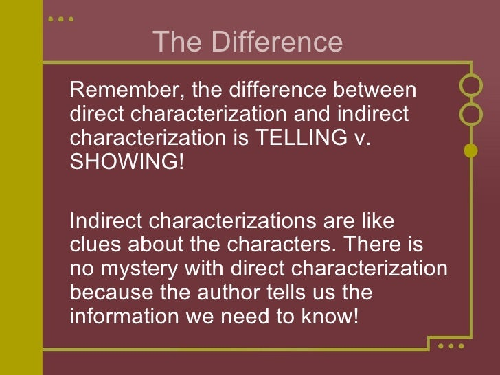 indirect characterization What is indirect characterization in indirect characterization, the writer reveals information about a character through the character's actions, words, and words along with other characters' interactions with that particular character.