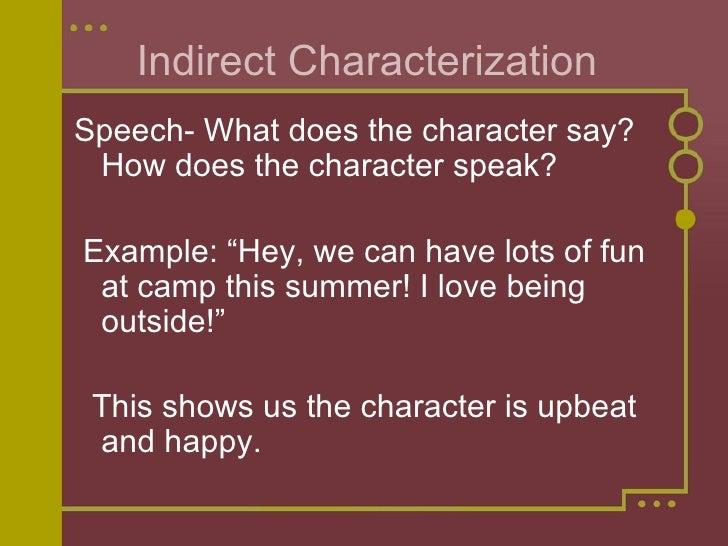 Indirect Characterization <ul><li>Speech- What does the character say? How does the character speak?  </li></ul><ul><li>Ex...