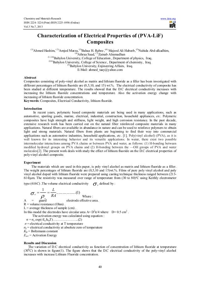 Chemistry and Materials Research www.iiste.org ISSN 2224- 3224 (Print) ISSN 2225- 0956 (Online) Vol.3 No.7, 2013 40 Charac...