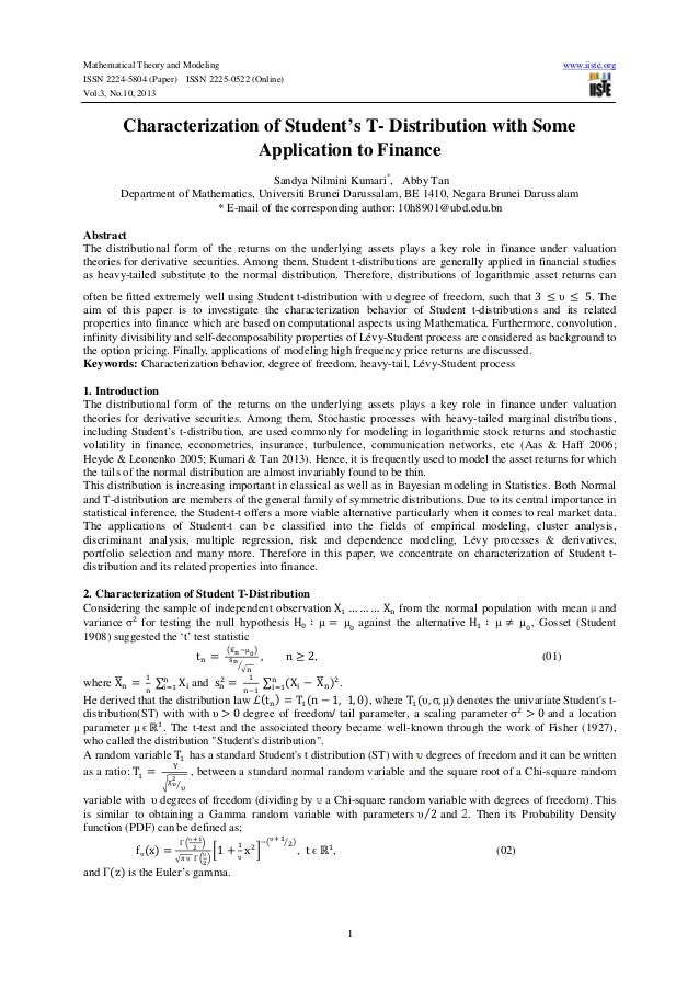 Mathematical Theory and Modeling www.iiste.org ISSN 2224-5804 (Paper) ISSN 2225-0522 (Online) Vol.3, No.10, 2013 1 Charact...