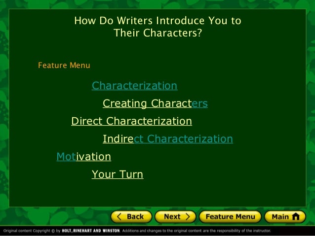 How Do Writers Introduce You to              Their Characters?Feature Menu               Characterization                 ...