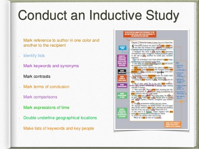 Conduct an Inductive Study Mark reference to author in one color and another to the recipient Identify lists Mark keywords...