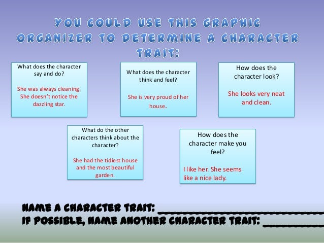 What does the character say and do? She was always cleaning. She doesn't notice the dazzling star.  What does the characte...