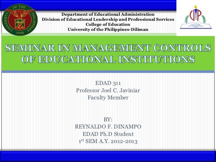 Department of Educational AdministrationDivision of Educational Leadership and Professional Services                    Co...