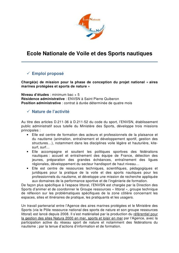 Ecole Nationale de Voile et des Sports nautiques       Emploi proposéChargé(e) de mission pour la phase de conception du p...