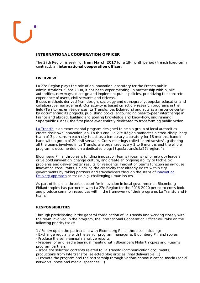 international cooperation officer