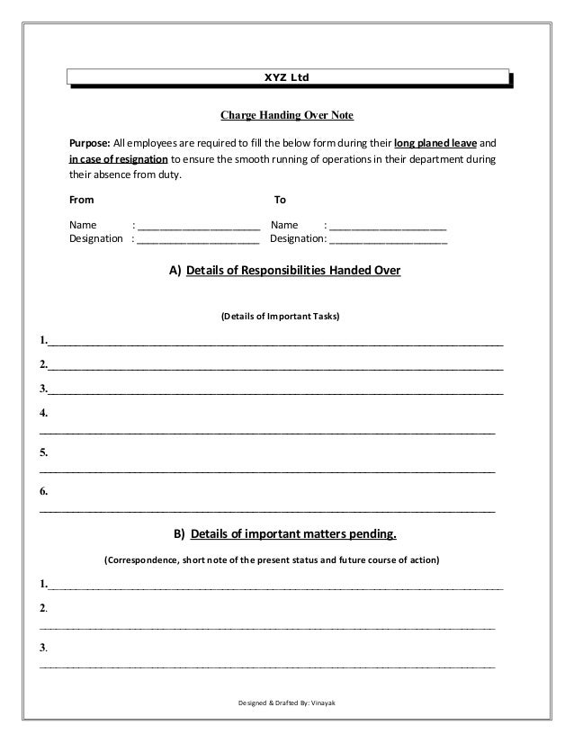 Charge handover format for Job handover checklist template