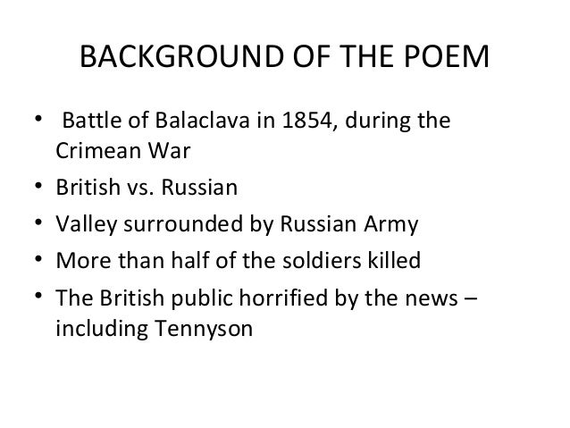 the charge of the light brigade and disabled essay Read this article to know about the charge of the light brigade analysis by alfred lord tennyson written in the context of crimean war, the charge of the light brigade by alfred lord tennyson is one of his most inspiring and influential poems.